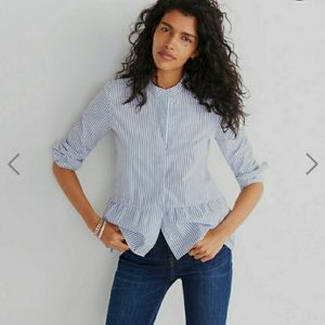 MADEWELL Lakeside Peplum Shirt in Stripe XS